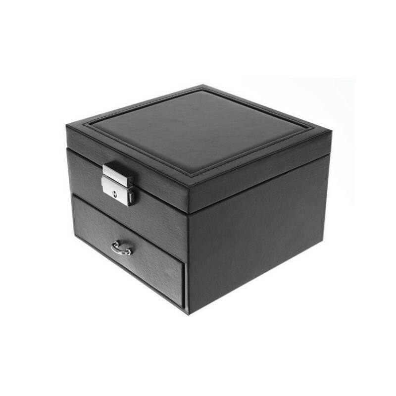 Óra és ékszertartó doboz tükörrel - fekete